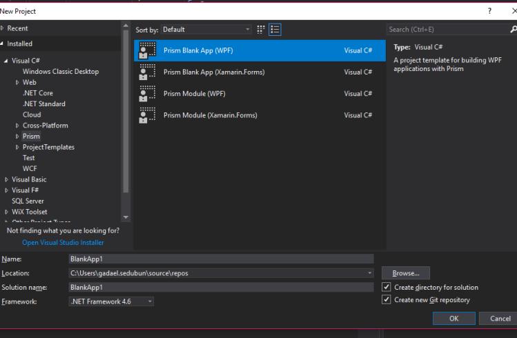 new WPF prism app