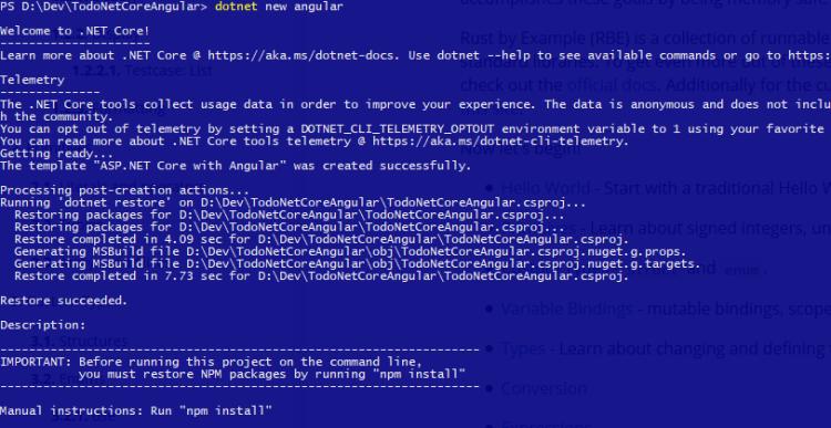 dotnet new angular